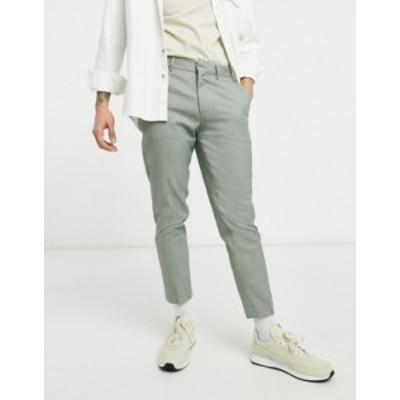 エイソス メンズ カジュアルパンツ ボトムス ASOS DESIGN khaki micro check skinny smart pants Khaki