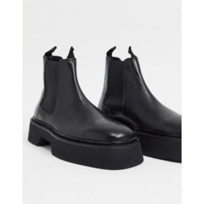エイソス メンズ ブーツ・レインブーツ シューズ ASOS DESIGN chelsea square toe boots in black high shine leather Black