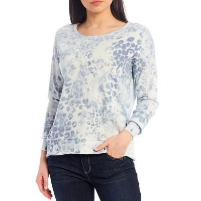 デモクラシー レディース ニット&セーター アウター Animal Tie Dye Curled Edge Cuff Long Sleeve Sweater Baby Blue Multi