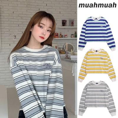 MUAHMUAH トレーナー ⭐キュート⭐日本未入荷⭐送料無料⭐ 韓国大人気 💙正規品 MUAHMUAH💙 Muah Bold Striped Sweatshirt