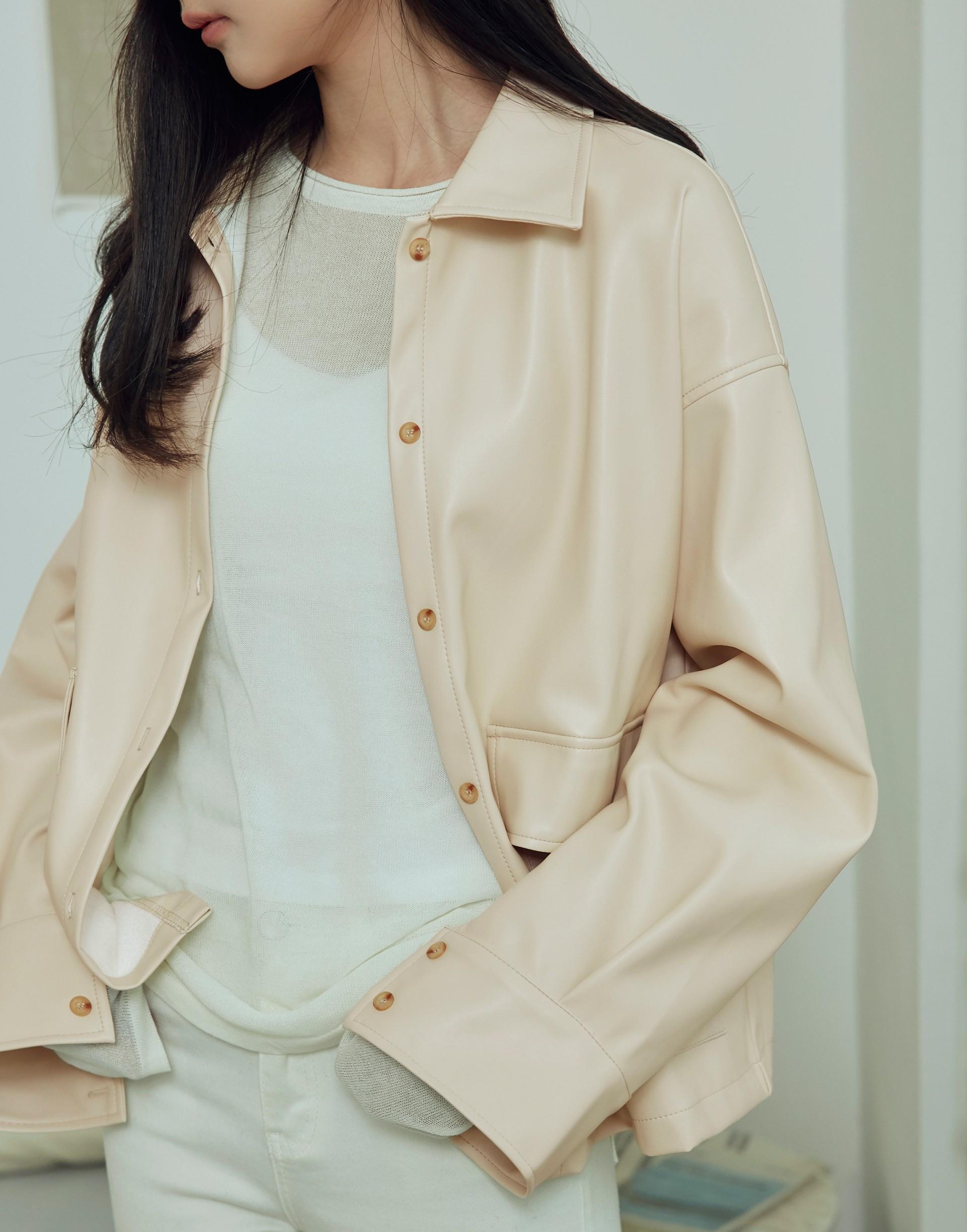 設計感口袋皮革外套襯衫-女-Genquo