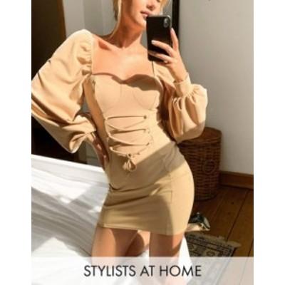 エイソス レディース ワンピース トップス ASOS DESIGN mini dress with cup seam and lace up front in camel Camel
