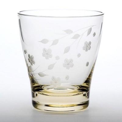江戸切子 花切子 桜文様 オールド 琥珀 ロックグラス ウイスキー 焼酎 酒 ギフト プレゼント 還暦祝い 男性 定年退職 記念品 男性 女性