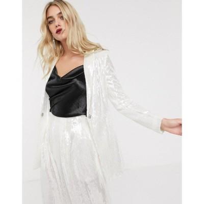 エイソス レディース ジャケット・ブルゾン アウター ASOS EDITION slim blazer in sequin Pale silver