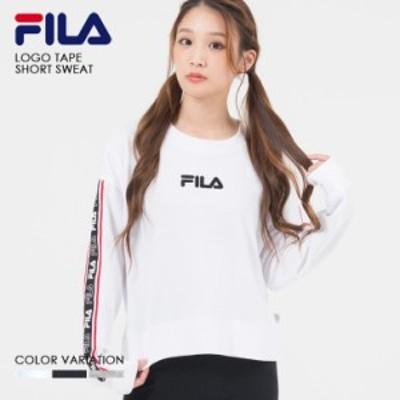 FILA フィラ ロゴ テープ ショート トレーナー レディース スウェット プルオーバー 長袖 白 黒 ホワイト ブラック グレー メンズ ユニセ