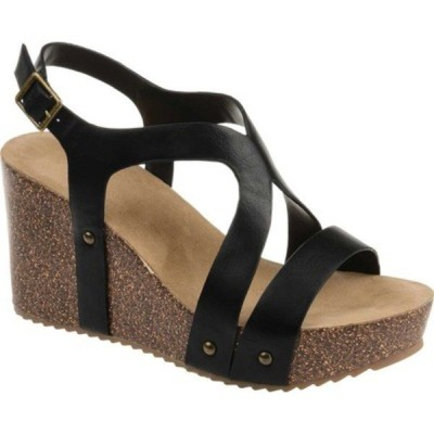 ジャーニーコレクション サンダル シューズ レディース Geneva Wedge Sandal (Women's) Black Faux Leather