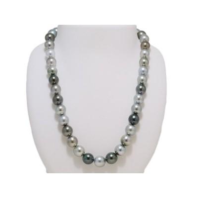 黒蝶真珠 マルチカラー 黒真珠 10mmX11.5mm ネックレス グリーン系 グレー系 レディース