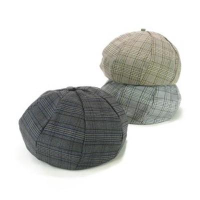 8パネルグレンチェックベレー レディース帽子