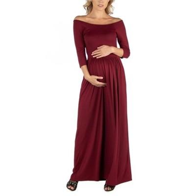 24セブンコンフォート ワンピース トップス レディース Off Shoulder Pleated Waist Maternity Maxi Dress Red