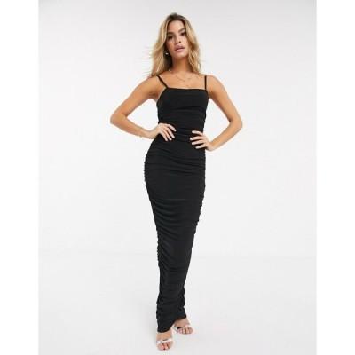 クラブエルロンドン レディース ワンピース トップス Club L ruched midi cami dress in black Black