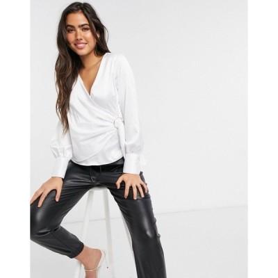 リバーアイランド レディース シャツ トップス River Island wrap trim drapey blouse in white Ivory
