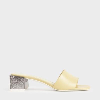 スカルプチャーヒール オープントゥミュール / Sculptural Heel Open Toe Mules (Yellow)