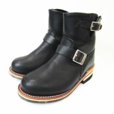 【中古】ゴット&ブレス GOD & BLESS  エンジニア レザー ショートブーツ 靴 GB-9809A 黒 ブラック 23cm レディース