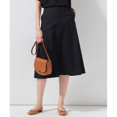 L size ONWARD(大きいサイズ)/エルサイズオンワード 【洗える】コットンシルクタイプライタースカート ブラック系 44