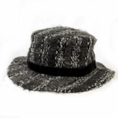 【中古】ビームスハート BEAMS HEART ハット 帽子 リボン グレー ブラック 黒 57.5cm レディース