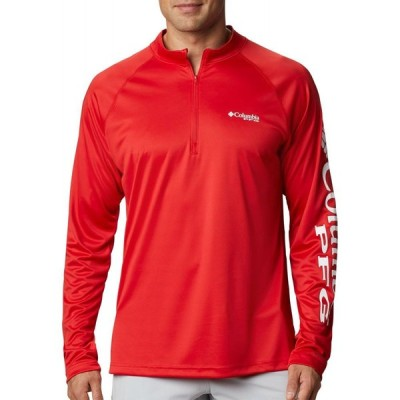コロンビア Columbia メンズ トップス 大きいサイズ Terminal Tackle Quarter Zip Long Sleeve Shirt (Regular and Big & Tall) Red Spark/White Logo