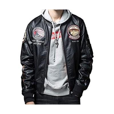 レザージャケット メンズ ライダースジャケット 革ジャン ボンバージャケット MA-1 フェイクレザージャケット (ブラック2 2XL)