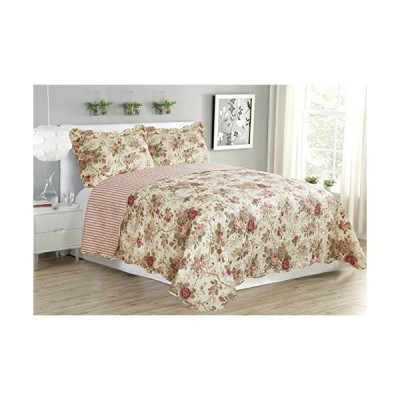 Glory Home Design Suzy 3pc Reversible Quilt Set (Rose, King)