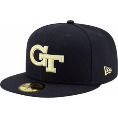 ニューエラ メンズ 帽子 アクセサリー New Era Men's Georgia Tech Yellow Jackets Navy 59Fifty Fitted Hat