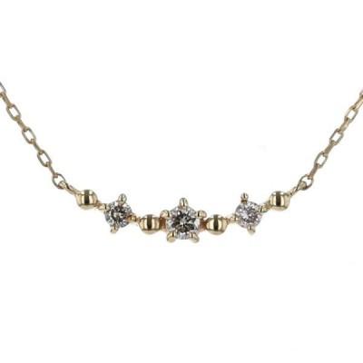 Canal4℃ カナルヨンドシー K10YG イエローゴールド ネックレス ダイヤモンド 3粒 スマイル カーブ 40cm【新品仕上済】【af】【中古】