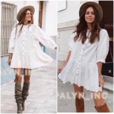 Ruffle  ファッション ドレス vRARE_NWT ZARA SS19 EMBROIDERED LACE DRESS BUTTONED RUFFLE HEM ECRU 5770/022_S L