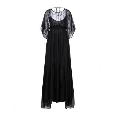 L'EDITION ロングワンピース&ドレス ブラック 44 キュプラ 100% / シルク ロングワンピース&ドレス
