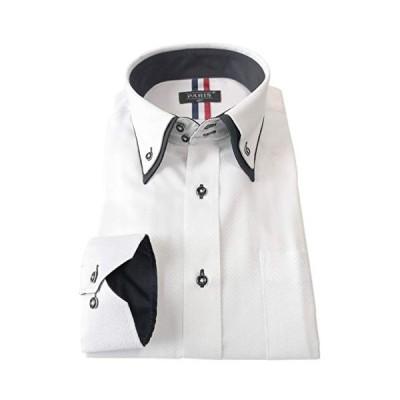 [パリス16ク] ワイシャツ メンズ 長袖 形態安定 ボタンダウン ドゥエボットーニ カッタウェイ ブラックダブルカラー L E