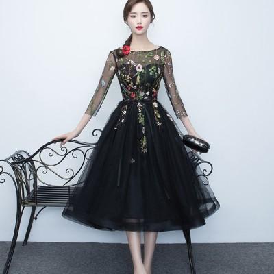 ロング丈 シースルードレス チュール 花柄 刺繍 ブラック ボーとネック パーティー 結婚式 二次会(B085)