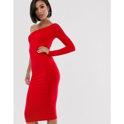 エイソス ASOS DESIGN レディース ボディコンドレス ワンピース・ドレス going out one sleeve bodycon midi dress Red