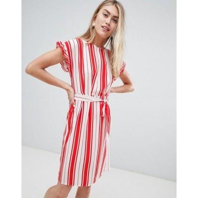 ミスセルフフリッジ レディース ワンピース トップス Miss Selfridge midi dress with tie waist in stripe Multi