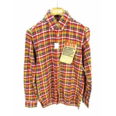 【中古】未使用品 カトー KATO` ライト ネルシャツ ボタンダウン チェック オレンジ 橙 S QW メンズ