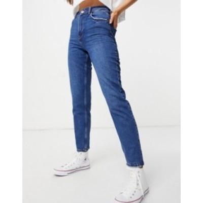 ニュールック レディース デニムパンツ ボトムス New Look waist enhance mom jean in blue Blues