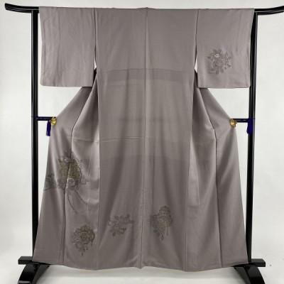 付下げ 秀品 草花 金糸 刺繍 紫 袷 身丈160.5cm 裄丈63cm S 正絹 中古