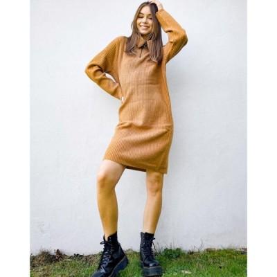 オブジェクト Object レディース ワンピース ワンピース・ドレス zip detail jumper dress in brown ブラウン