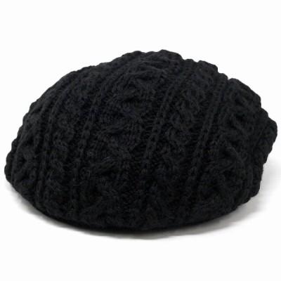 ニットハンチング 毛糸 ハンチング ベレー帽 2way 暖かい 秋冬 帽子 ユニセックス HIGHLAND 2000 ブリティッシュウール 黒 ブラック