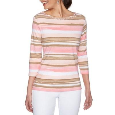 ルビーロード レディース Tシャツ トップス Petite Size Vibrant Stripe Embellished Boat Neck 3/4 Sleeve Knit Top Petal Pink Multi