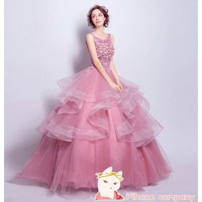 ロングドレス 結婚式 大きいサイズ ウェディングドレス 二次会ドレス パーティドレス ワンピース 20代 お呼ばれ 40代 パーティードレス 30代 ドレスピンク