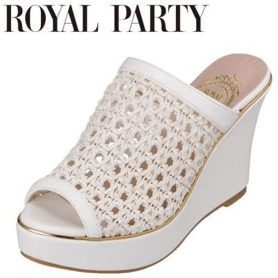 ロイヤルパーティ ROYAL PARTY RP8602 レディース   サンダル   ウェッジソール   ミュール   メッシュ編み   ホワイト