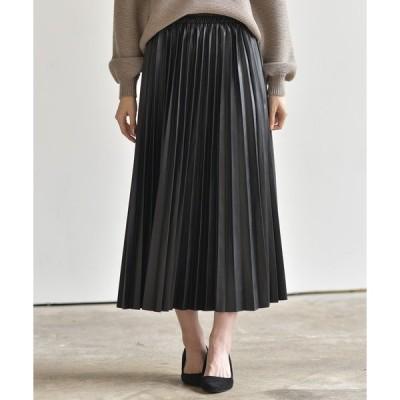 スカート エコレザープリーツスカート