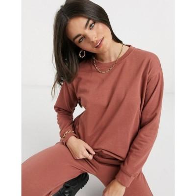 ピーシーズ Pieces レディース スウェット・トレーナー トップス Long Sleeved Sweatshirt Co Ord In Rust ワインレッド