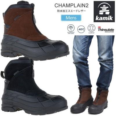 カミック kamik スノーブーツ 防水 メンズ シャンプラン2 CHAMPLAIN2 ブラック ダークブラウン 25-29cm 1600505