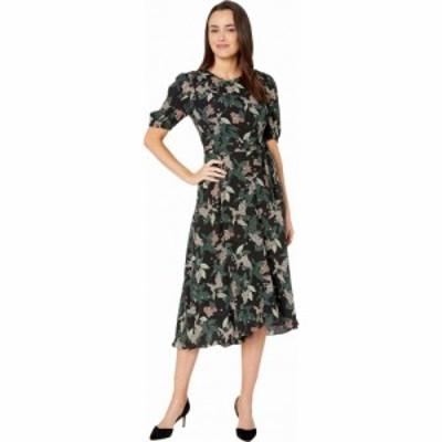 ドナ モルガン Donna Morgan レディース ワンピース ワンピース・ドレス Floral Printed Elbow Sleeve High-Low Georgette Dress Black/H