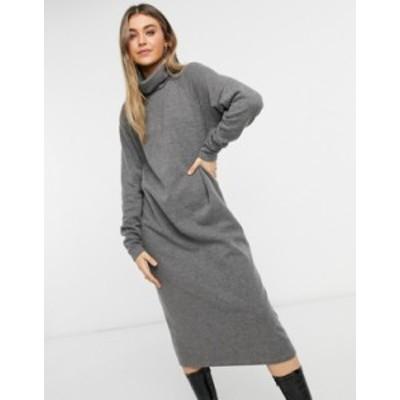 エイソス レディース ワンピース トップス ASOS DESIGN super soft exposed seam midi sweater dress with cowl neck in gray Grey