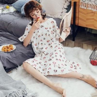 ネグリジェ パジャマ レディース 春夏 半袖ワンピース 綿パジャマ 大きいサイズ ロングTシャツ ナイトウェア 部屋着 可愛い オシャレ 寝