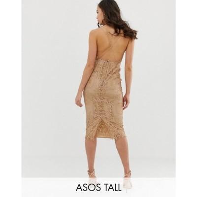 エイソス ASOS Tall レディース ワンピース ワンピース・ドレス ASOS DESIGN Tall square neck midi pencil dress in lace Taupe