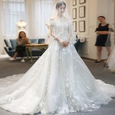 ウェディグドレス  結婚式 花嫁 二次会 プリンセスラインドレス ドレス オフホワイト 安い 海外挙式 大きいサイズ 前撮り 後撮り トレーン 白 送料無料