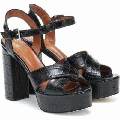 パリ テキサス Paris Texas レディース サンダル・ミュール シューズ・靴 Croc-effect leather sandals Nero