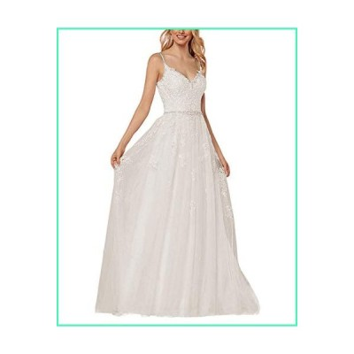 Ivory Lace Wedding Dresses for Women Spaghetti Straps A Line Bohemia Bride 2020 Formal Bridal Gown並行輸入品
