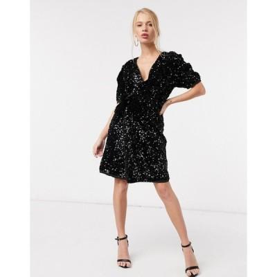 ヤス ミニドレス レディース Y.A.S mini wrap sequin dress with puff sleeves in black エイソス ASOS ブラック 黒