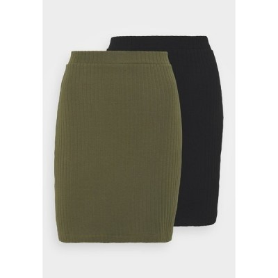 エブンアンドオッド スカート レディース ボトムス 2 PACK - Mini skirt - black/khaki